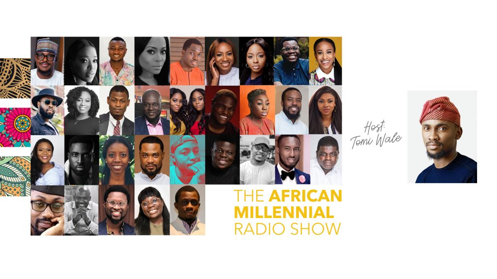 Collage of guests on the African Millennial Radio Show with Tomi Wale